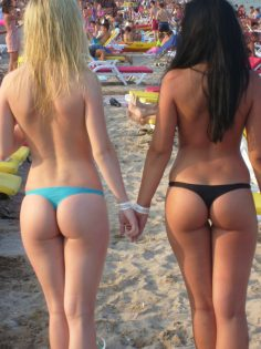 Blonde and brunette with great asses